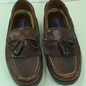 Sperry Topsider Mens Boat Shoes Medium Brown Leath